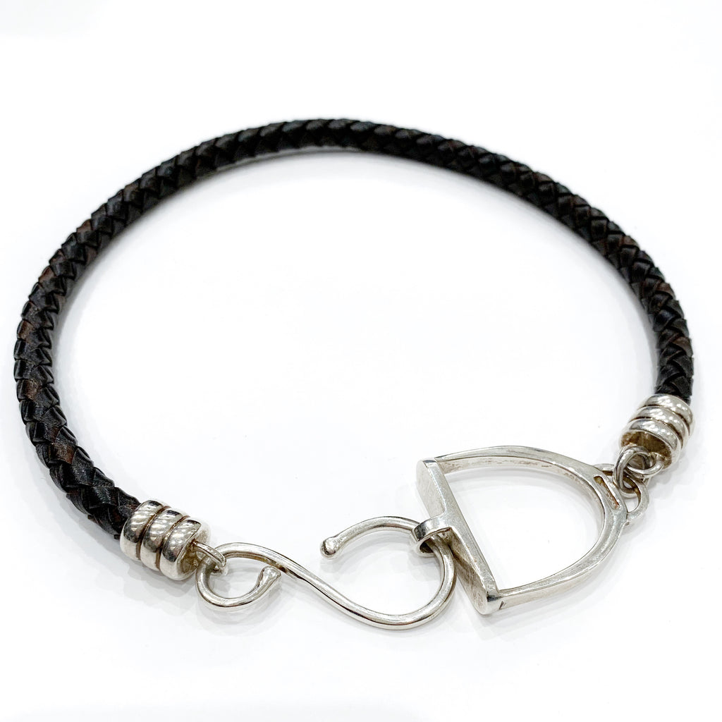"Stirrup & Hook Leather Necklace 18"" Sterling Silver"
