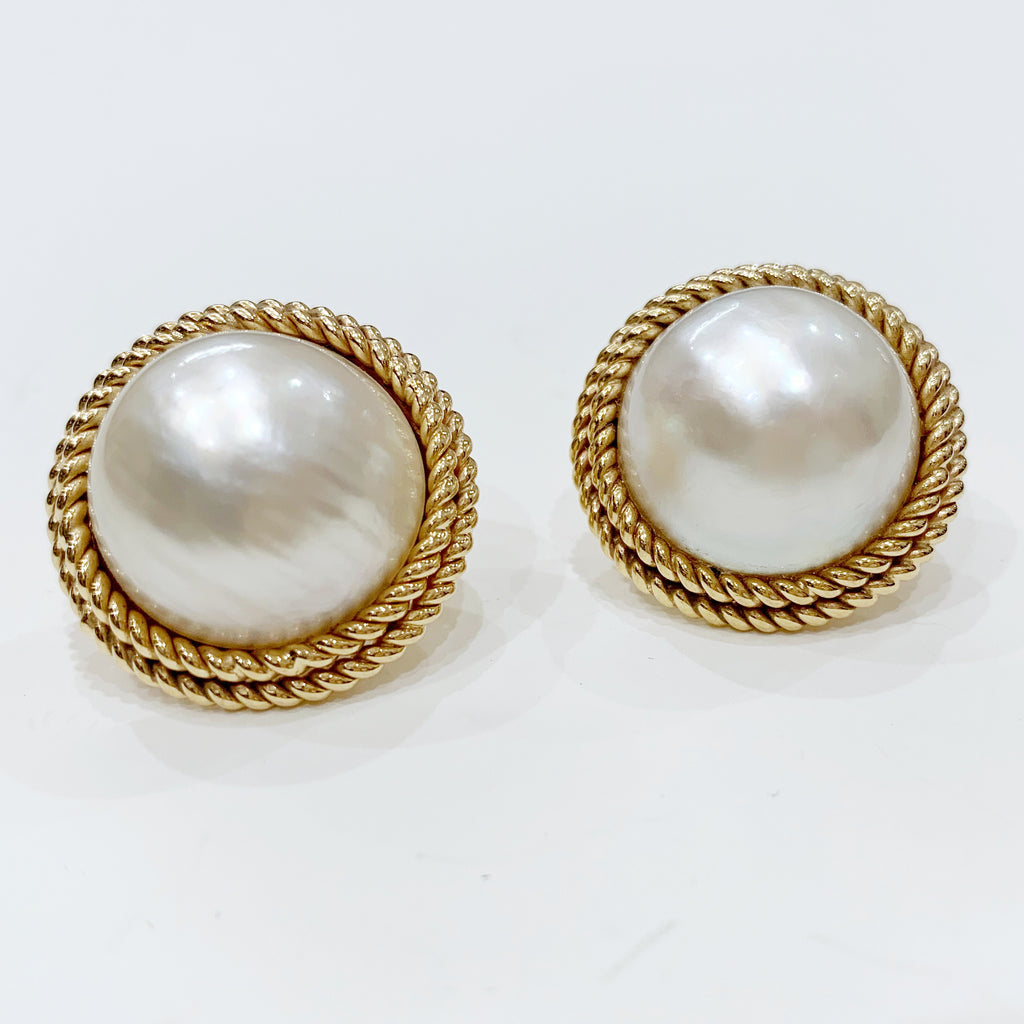 Estate Collection Earrings - Large Mabe Pearl W/14K Gold Rope Design