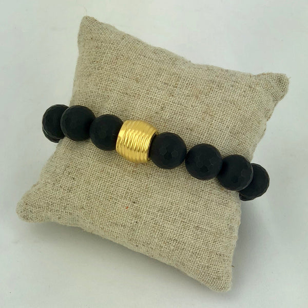 Stretchy Matte Facetted Onyx Bracelet