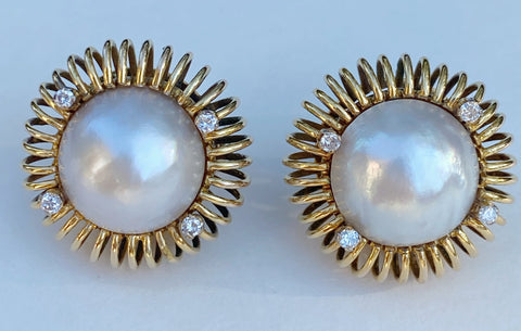Estate Collection - Earrings -  Vintage Pearl and Diamond