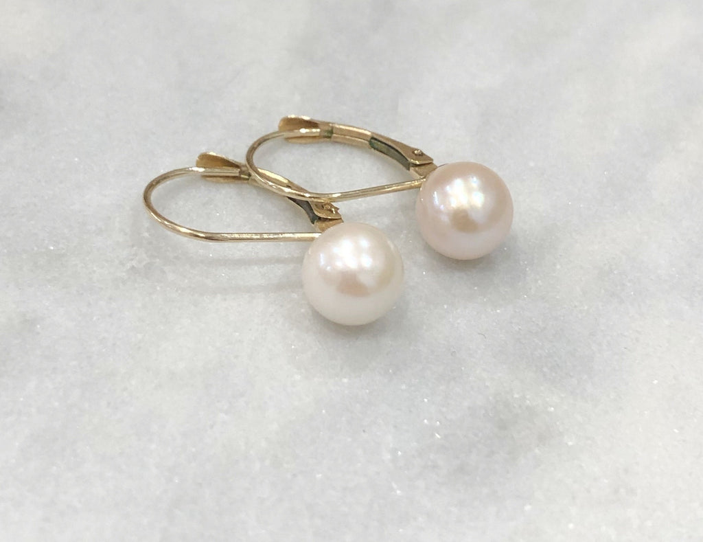 Estate Collection Vintage Pearl & 14K Gold Earrings