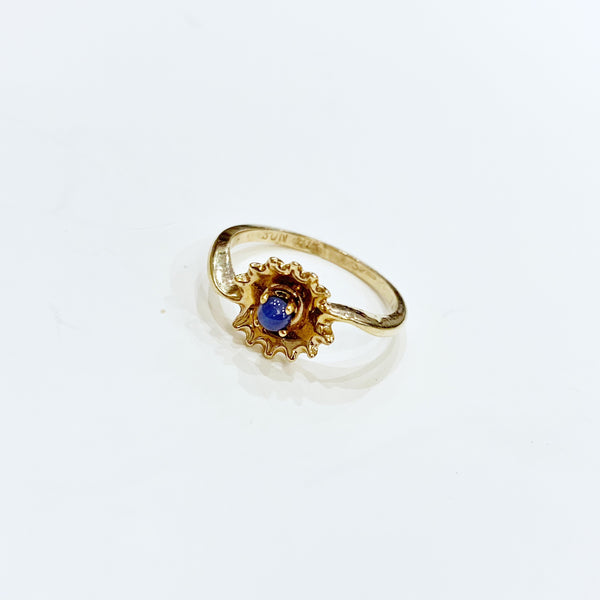 Estate Collection Ring - 10K Yellow Gold w/Delicate Sapphire Bead Setting