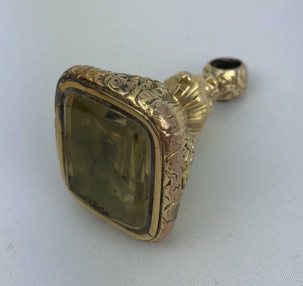 Estate Collection Victorian 9ct Rolled Gold Large Citrine Fob