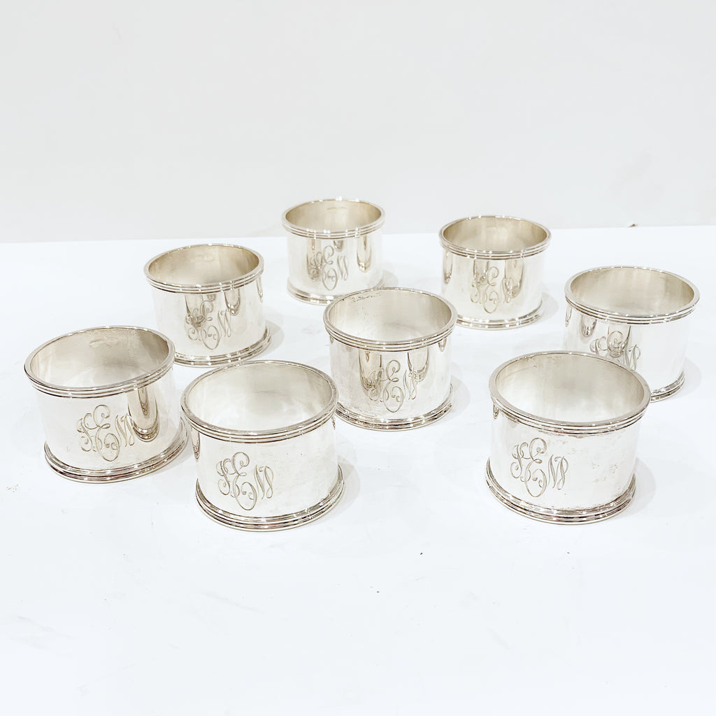 Estate Collection Sterling - Napkin Rings Set of Eight w/Monogram