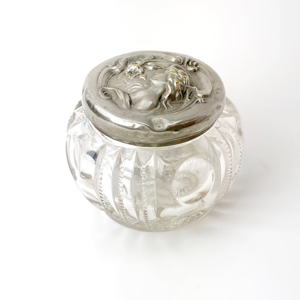 Estate Collection Silver - Dresser Jar Art Nouveau Glass & Silver