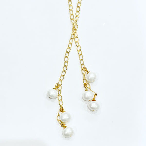 Delicate Chain Lariat w/6 Baby Pebble Pearl Drops