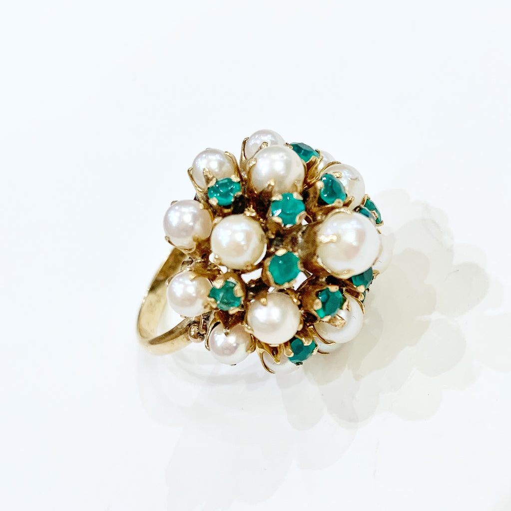 Estate Collection Ring Antique Pearl & Emerald