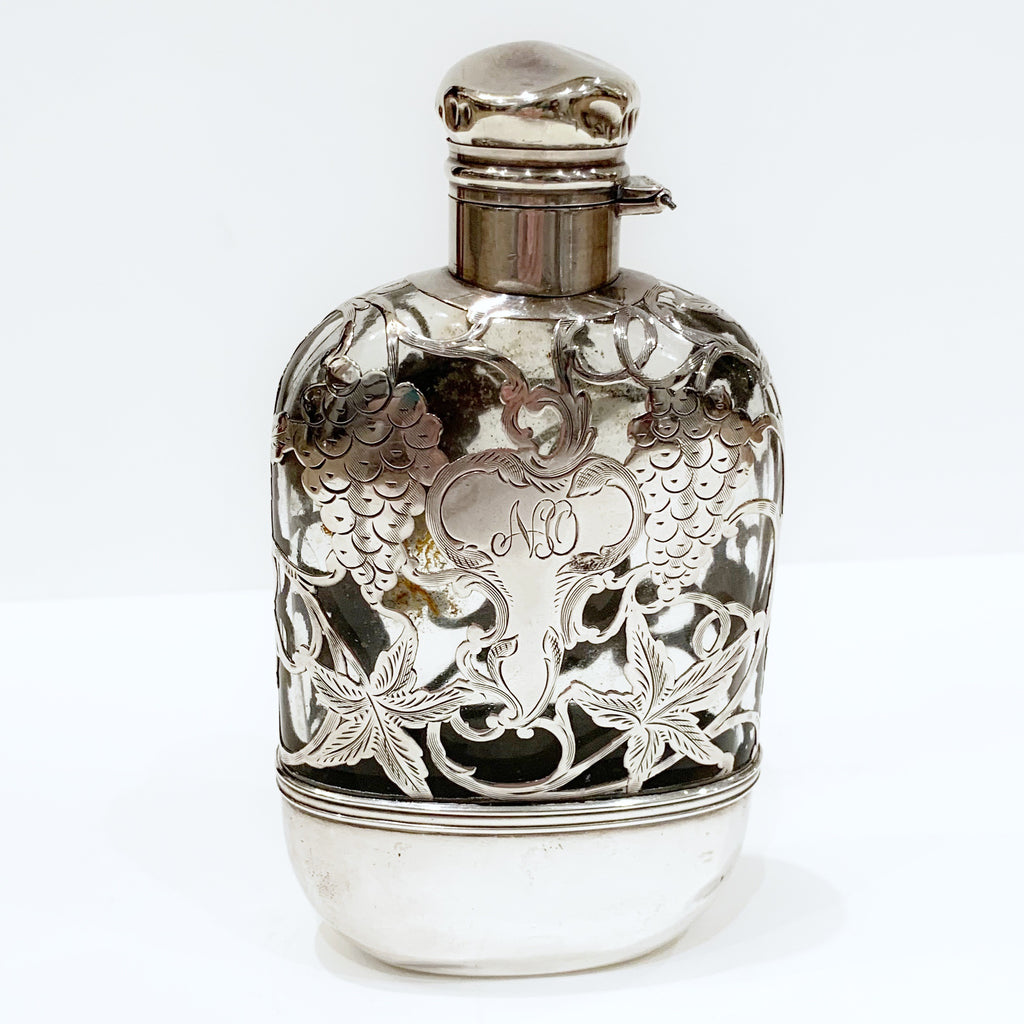 Estate Collection Sterling - Flask Antique Glass with Sterling Overlay
