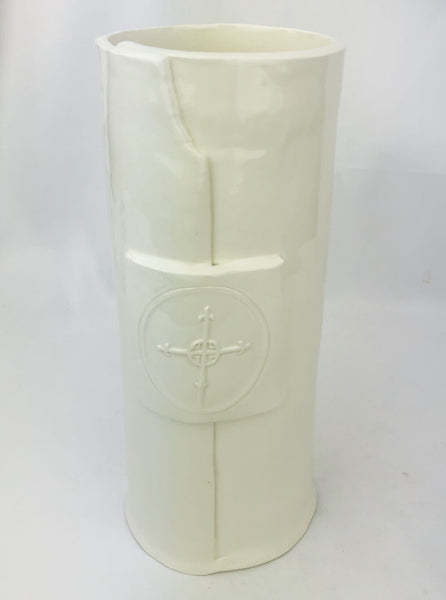 "Handmade 10""H White Cross Vase"