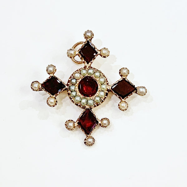Estate Collection Brooch - Antique Garnet & Split Pearl Cross