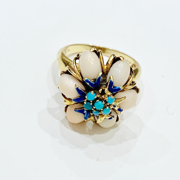 Estate Collection Ring - Coral, Turquoise & Blue Enamel Flower