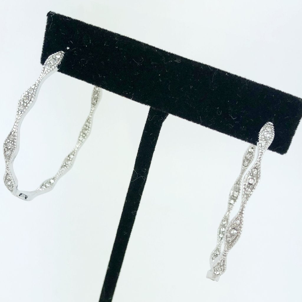 Silver Pave Hoop Earrings