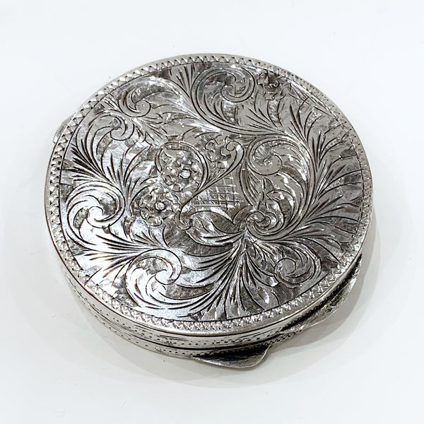 Estate Collection Silver - Compact Italian Silver Etched Compact