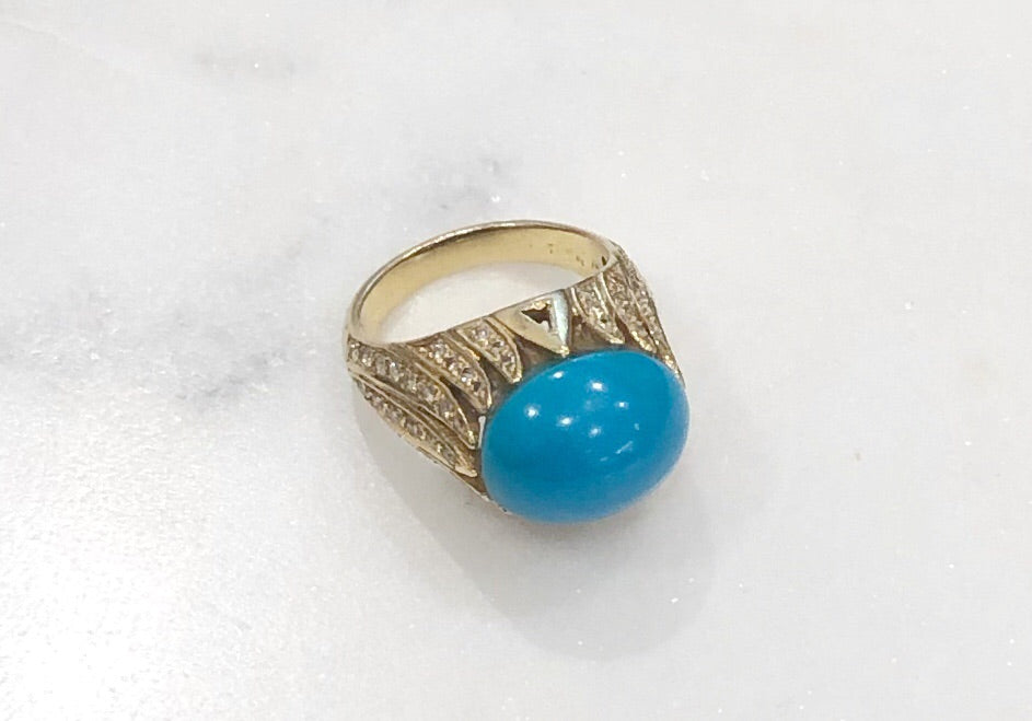 Estate Collection Ring 14K Yellow Gold Turquoise & Diamond