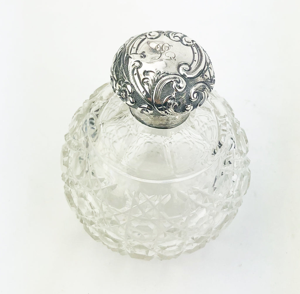 Estate Collection Sterling - Silver & Cut Glass Scent Jar