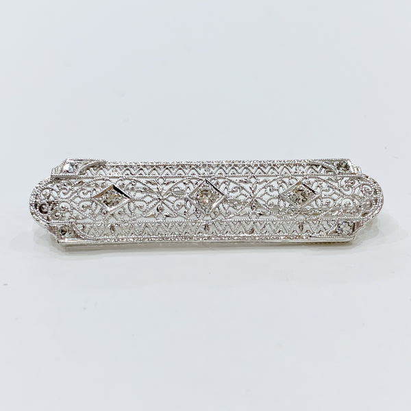Estate Collection Brooch - Antique 14K White Gold and Diamond Design