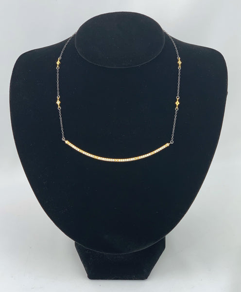 Black Chain Necklace w/Large Gold CZ Curved Bar