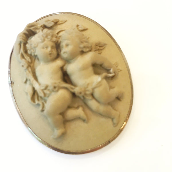 Estate Collection - Vintage Lava Brooch with Cherubs