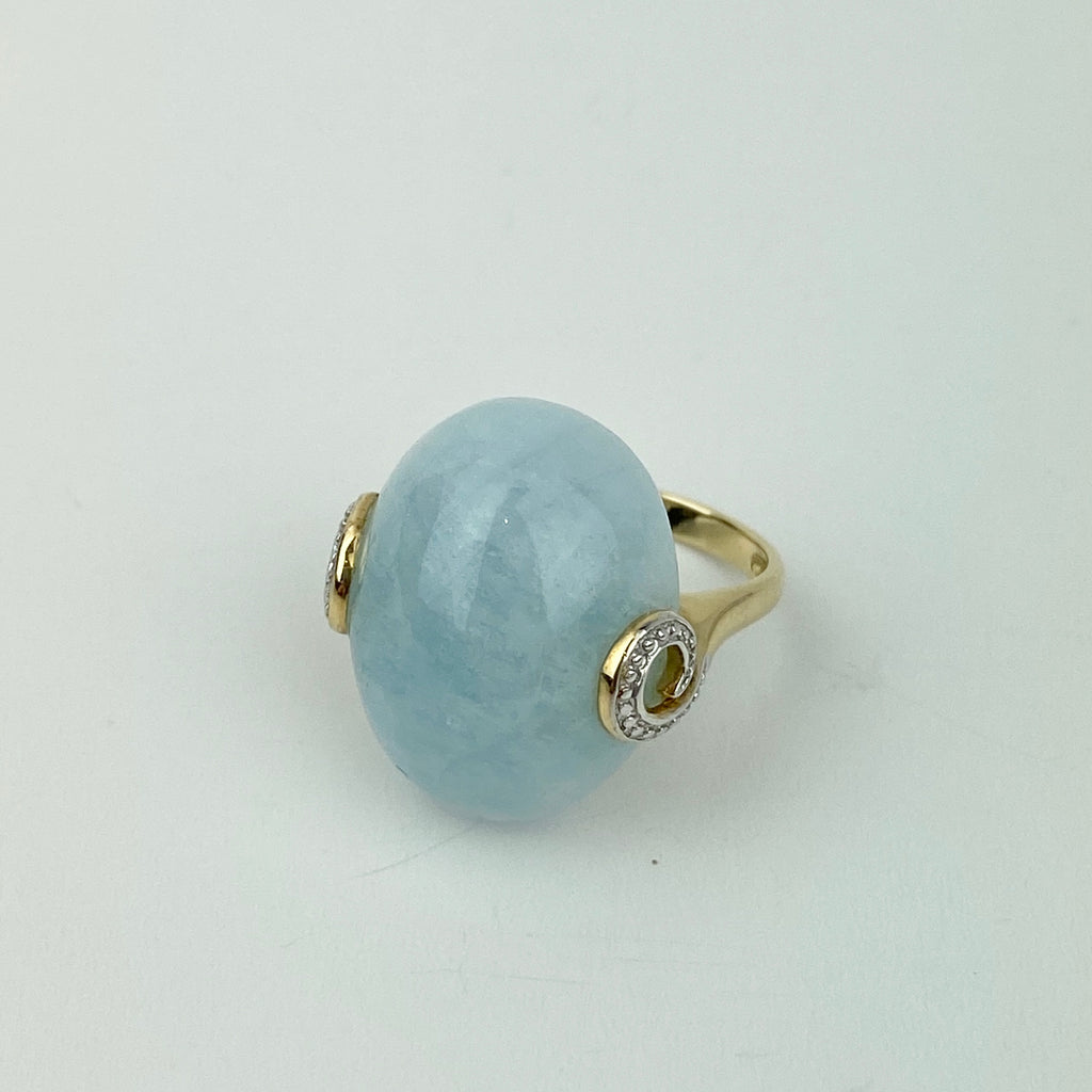 Estate Collection Ring - Aquamarine Stone Set in 14K Yellow Gold