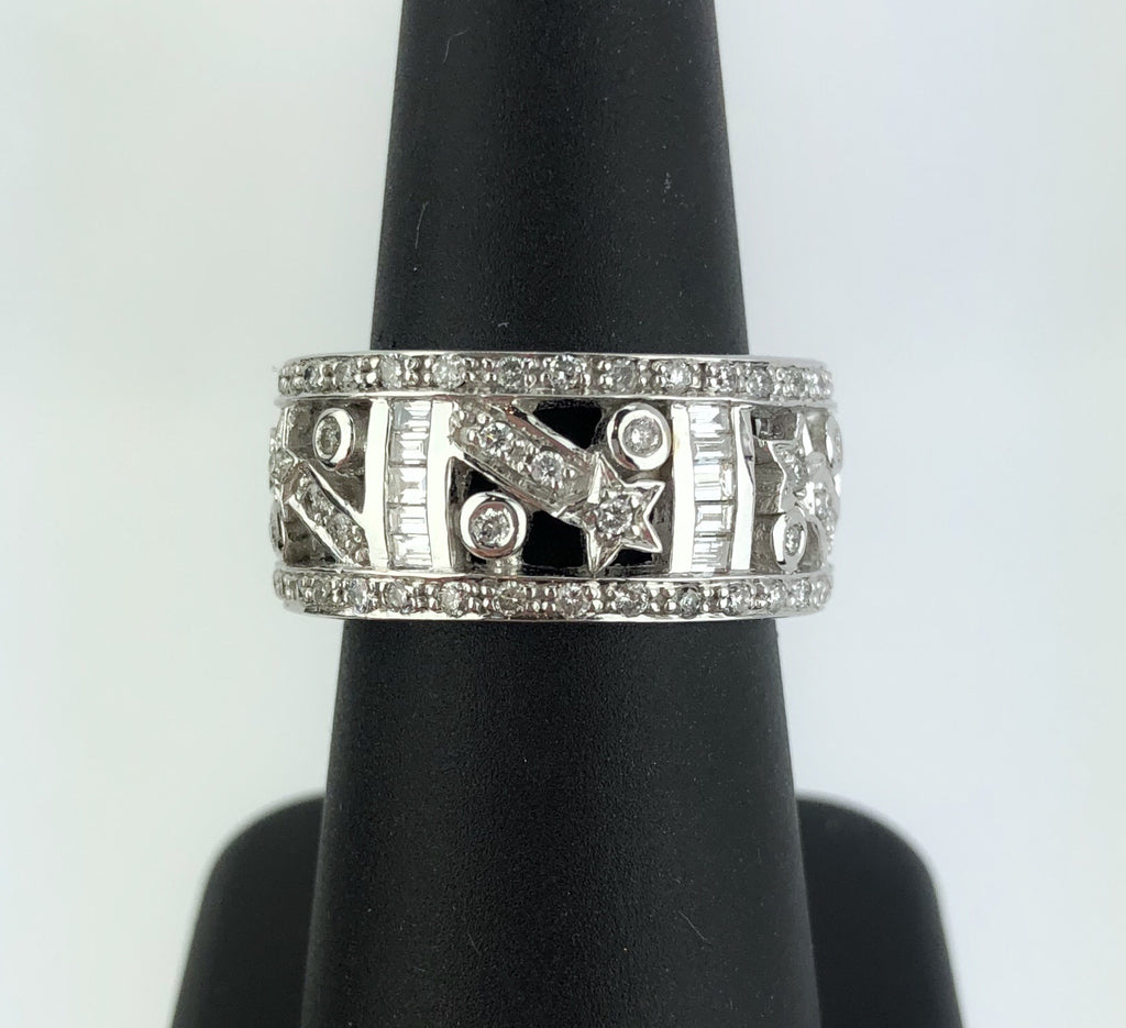 Estate Collection Vintage 14K White Golf Diamond Comet Motif Band Ring