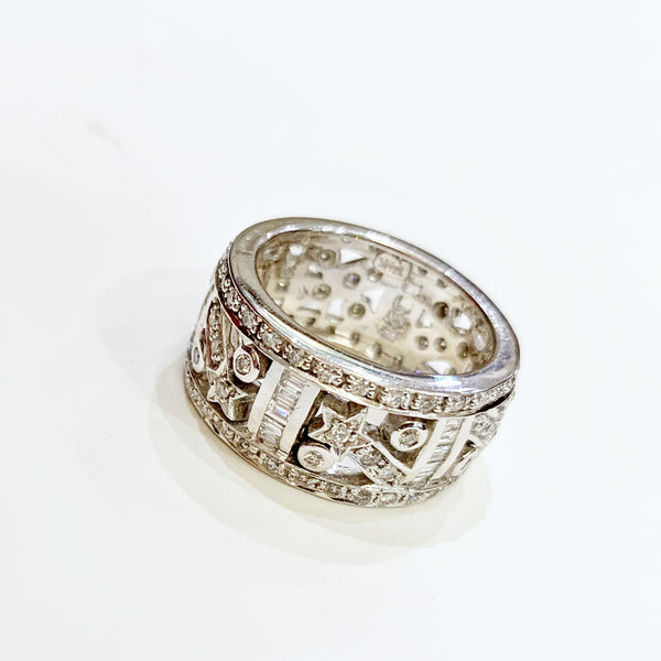 Estate Collection Ring - 14K Vintage White Gold Diamond Comet Motif Band