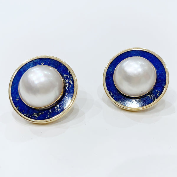 Estate Collection Earrings - Lapis and Mabe Pearl Set in 14K Gold