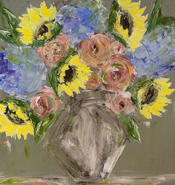 Kim Weathers - Gray Background Flowers in Vase