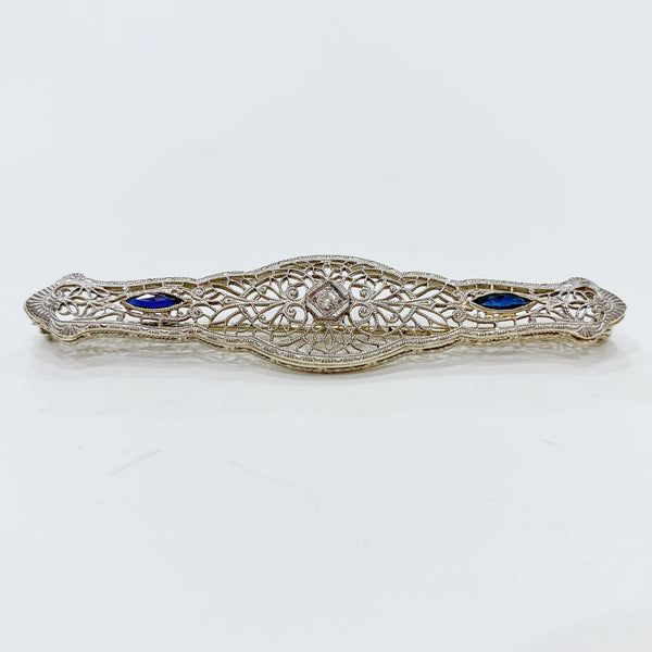 Estate Collection Brooch - Diamond, Sapphire & 14K White Gold
