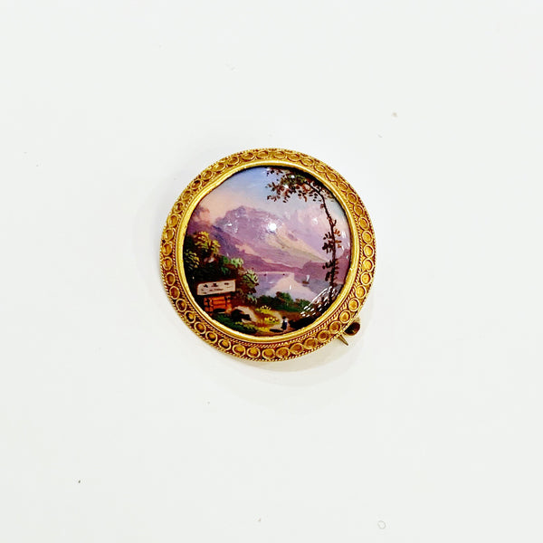 Estate Collection Brooch - Enameled Mountain Scene