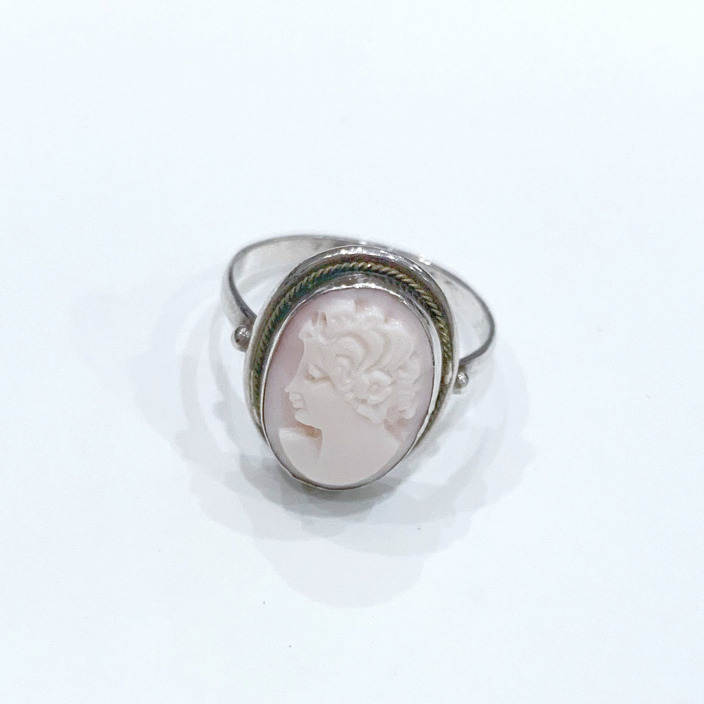 Estate Collection Ring - Vintage Hand Carved Shell Cameo and Sterling Silver