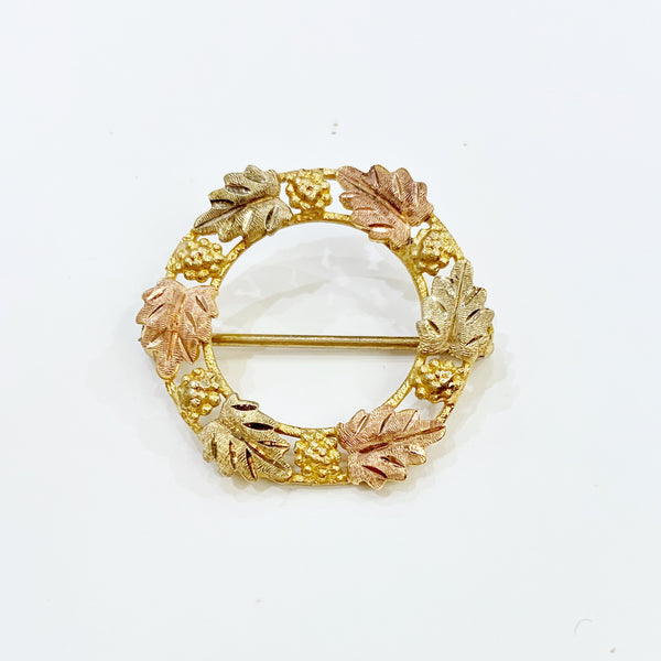 Estate Collection Brooch - 10K Tri-Color Gold Leaf Open Circle