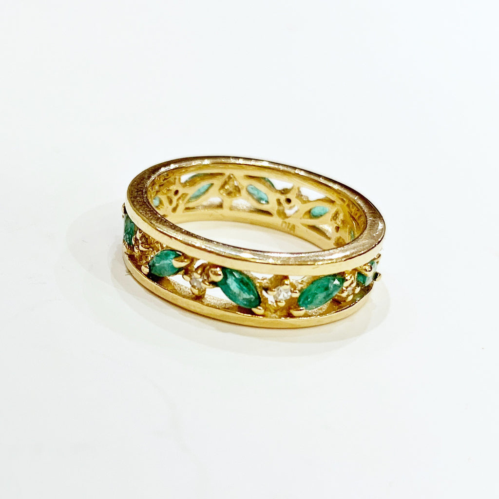 Estate Collection Ring - Marquis-Shaped Emeralds & Single Cut Diamonds