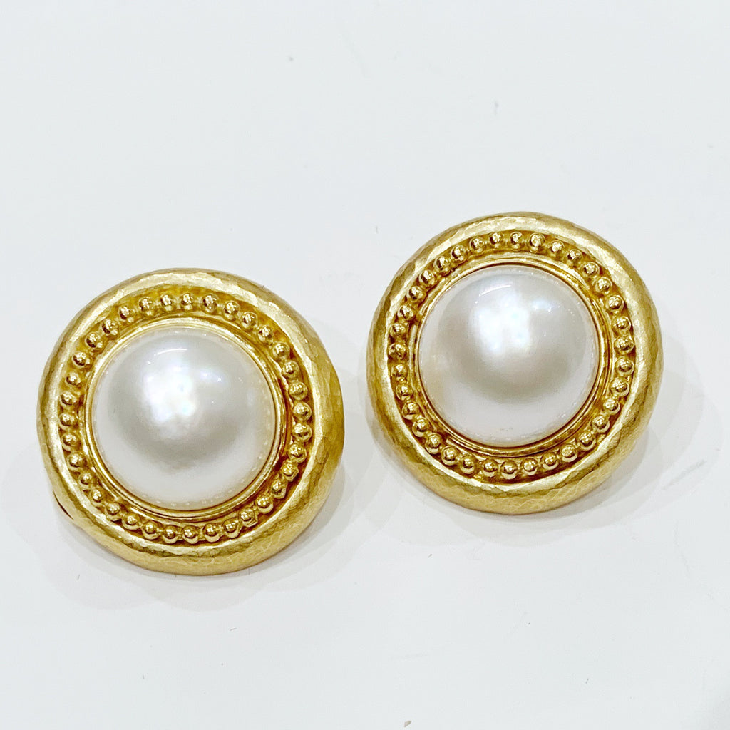 "Estate Collection Earrings - ""Stunning"" 18K Yellow Gold 15.5MM Pearl"