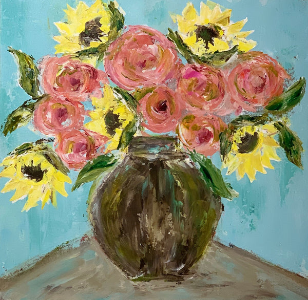 Kim Weathers - Blue Background Flowers in Vase