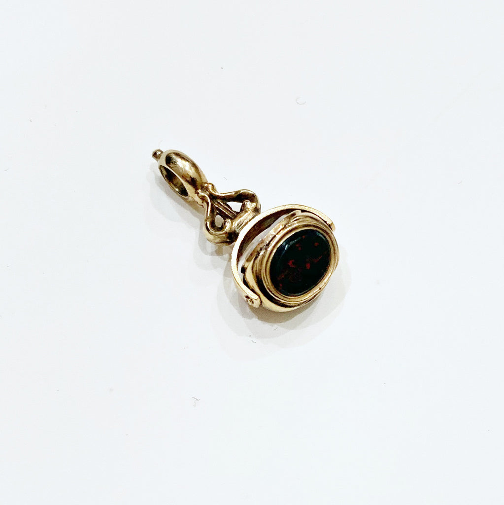 Estate Collection Watch Fob - Swivel 9K Gold w/Bloodstone, Onyx & Chalcedon