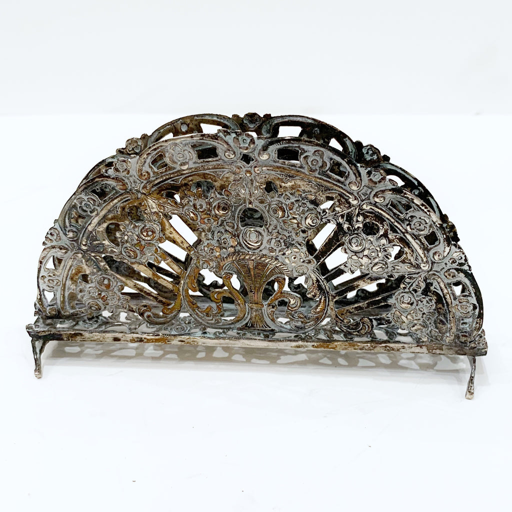 Vintage Card Holder w/Pierced Floral Design