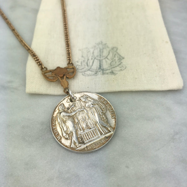 Antique Sterling French Marriage Medal Necklace - 19th C
