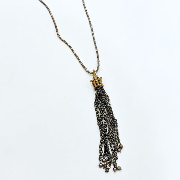 Bronze Crown w/ChainTassel on Silver Heishi Necklace