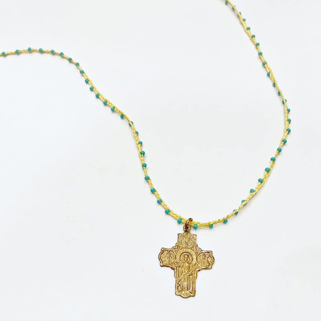 Bronze Cross on Woven Cord with Turquoise