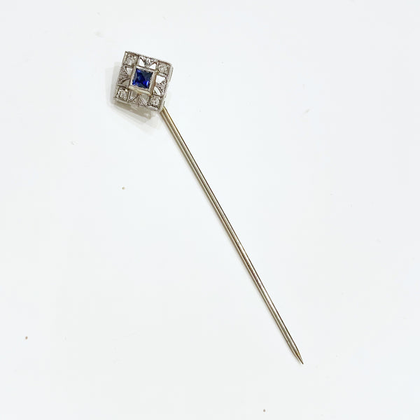 Estate Collection Brooch - Stick Pin 14K White Gold w/Blue Stone & Diamonds