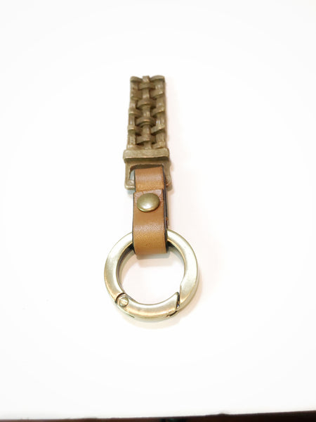 Bronze Woven Key Fob w/Leather Detail