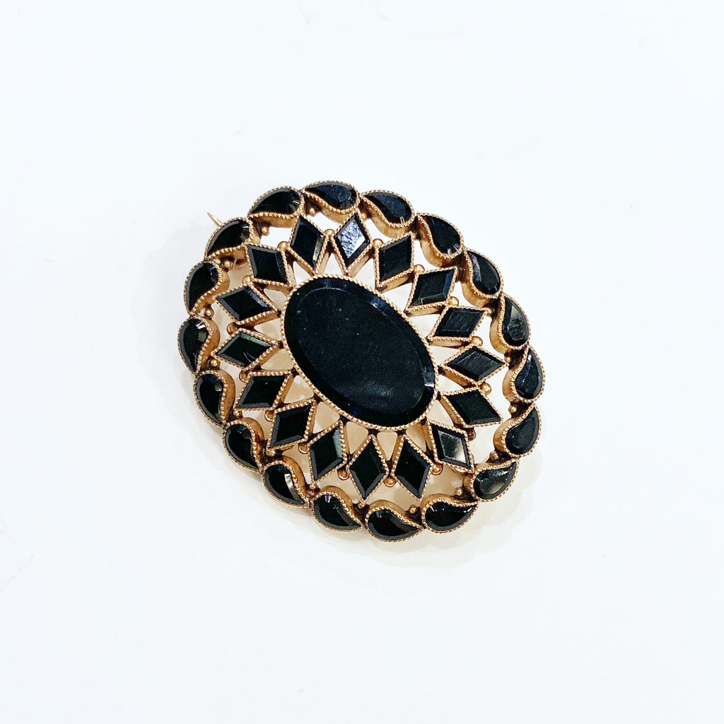 Estate Collection Brooch - 14K Faceted Black Onyx Mourning