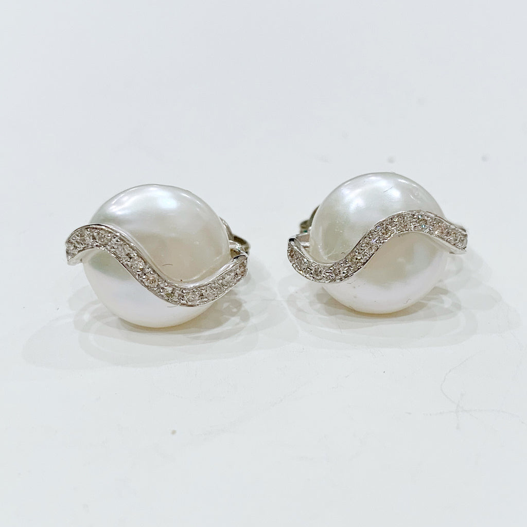 Estate Collection Earrings - Vintage YVEL Diamonds &  Pearl set in 18K White Gold Clip On Style