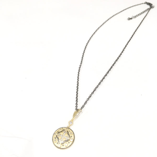 Black Necklace w/Round Gold & Black Disc w/Cross in Center