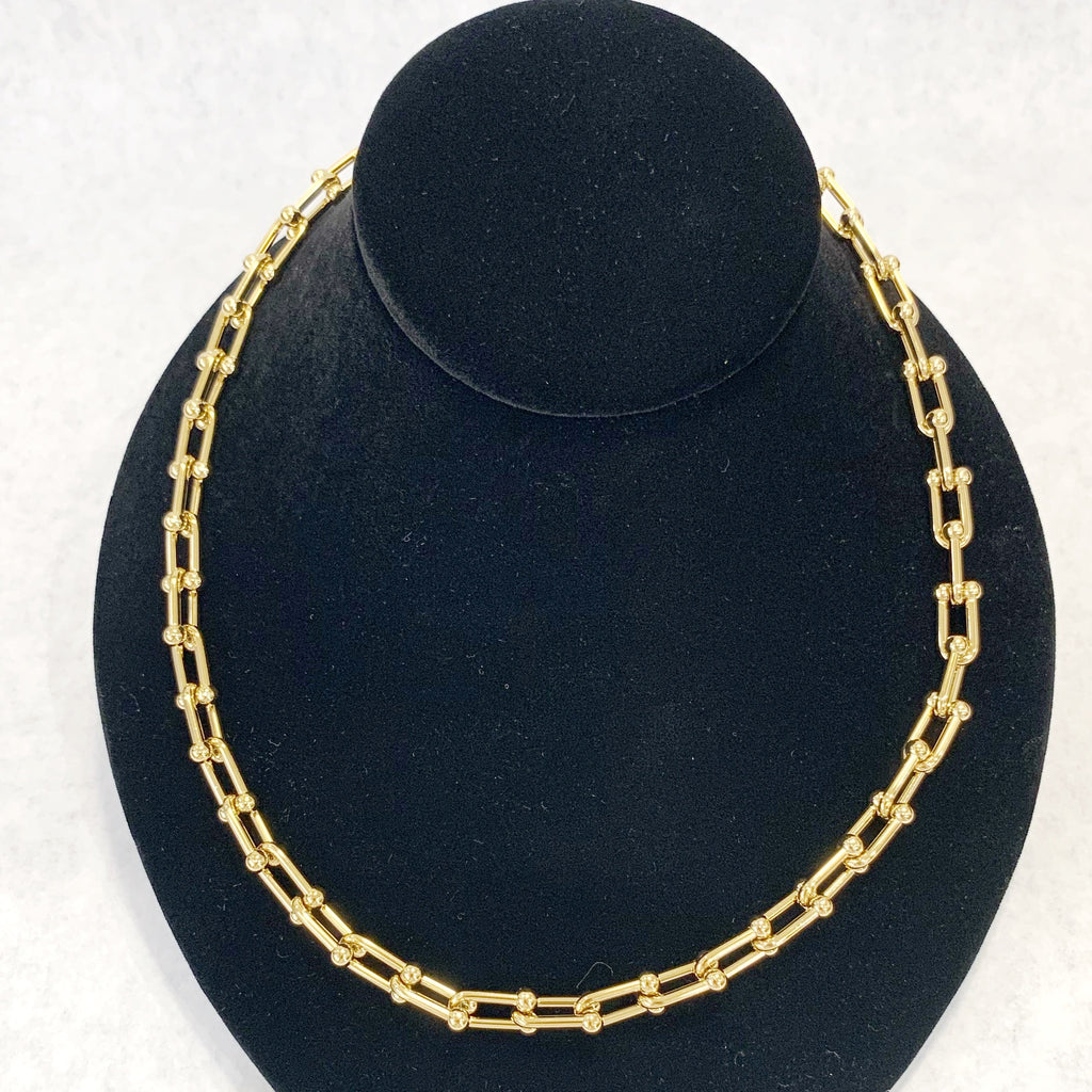 "Necklace - 18"" Gold Paper Clip w/Ball Dividers"