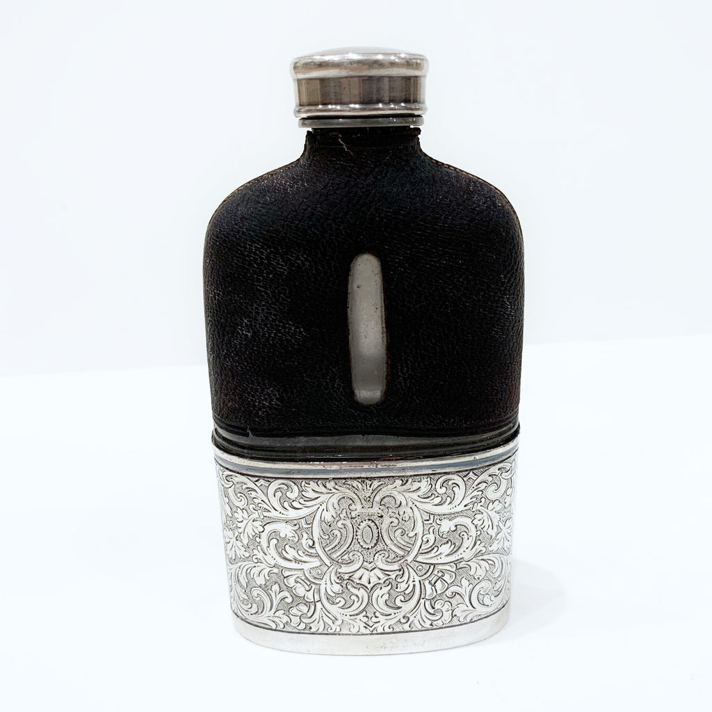 Estate Collection Silver Plate - Flask Vintage Leather