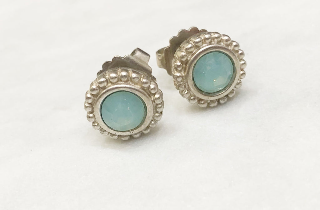 Silver Pacific Opal Post Earrings