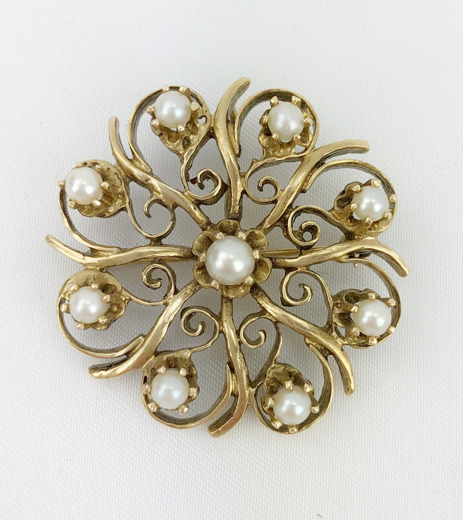 Estate Collection Art Deco Cultured Pearl & Bead Set Diamond Brooch