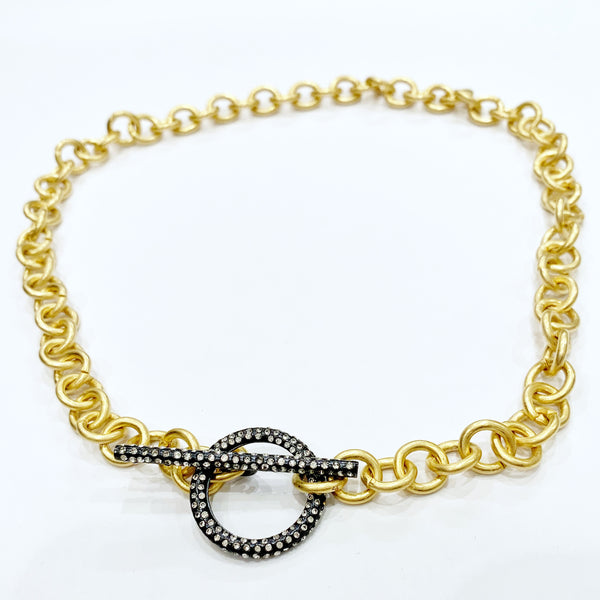 Gold Chain w/Black Pave Toggle Necklace
