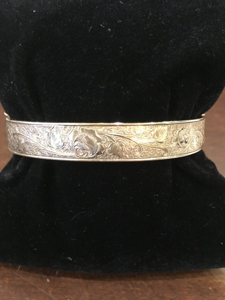 Estate Collection  - Victorian Fancy Floral Etched Bangle